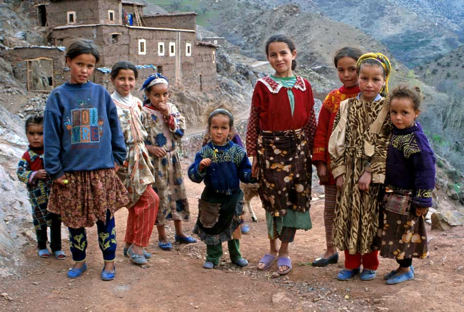 Nomad children in the mountains of morocco
